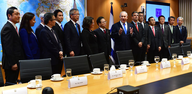 Prime Minister Benjamin Netanyahu hosts Japanese Minister of Economy, Trade, and Industry Hiroshige